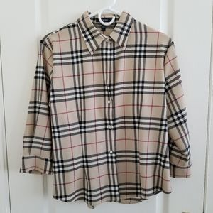 Burberry 3/4 Sleeve Beige Check Wool Button Down
